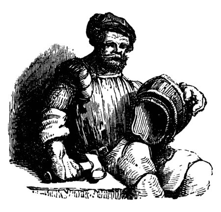 An Armourer was in former times a smith who specialized in manufacturing and repairing arms and armour, vintage line drawing or engraving illustration.