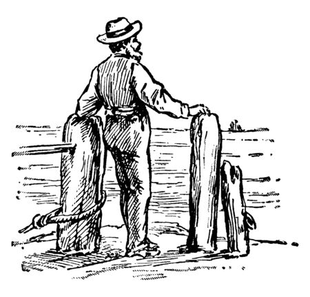 A man with hat on head standing and facing ocean, vintage line drawing or engraving illustration
