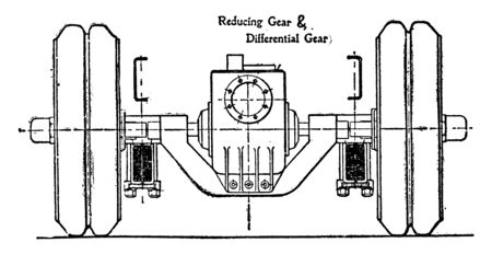 Back Axle of Leyland Six Ton Petrol Wagon in which the middle casing houses the reducing and differential gear, vintage line drawing or engraving illustration.