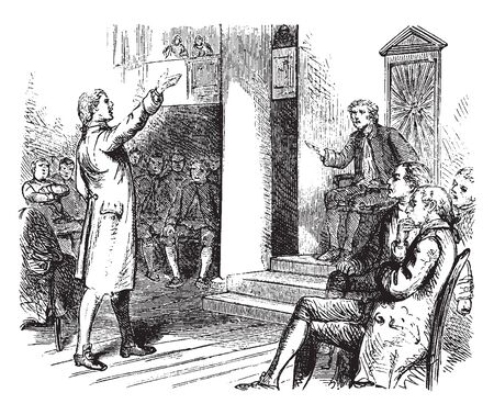 Patrick Henry an American attorney, planter and orator,Making his speech;vintage line drawing or engraving illustration.  イラスト・ベクター素材