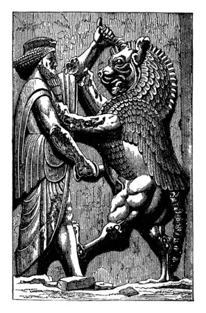 This illustration represents King in Combat with Monster, vintage line drawing or engraving illustration.