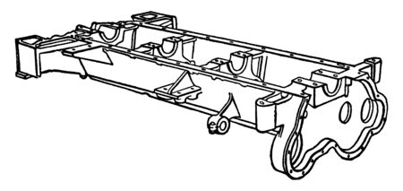 Building an Automobile Step 01 is Crankcase which is built around the crankcase which is its foundation or base, vintage line drawing or engraving illustration.
