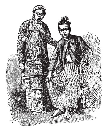 Burmese Couple is a citizen of the country of the Union of Myanmar, vintage line drawing or engraving illustration. 矢量图像