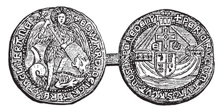 Angel was so called from the figure of the archangel Michael piercing the gradon upon its obverse, vintage line drawing or engraving illustration.