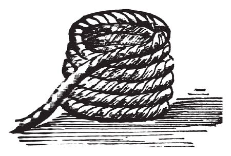 Coil formed when a conductor is wound around a core or form to create an inductor or electromagnet, vintage line drawing or engraving illustration.