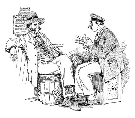 Two men sitting on barrels and talking, vintage line drawing or engraving illustration Stockfoto - 132902707