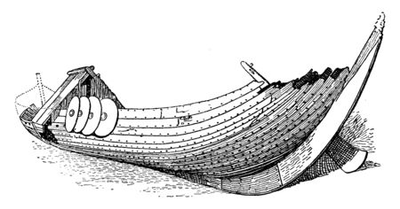 A Viking Ships were marine vessels of unique design built by the Vikings during the Viking Age, vintage line drawing or engraving illustration.