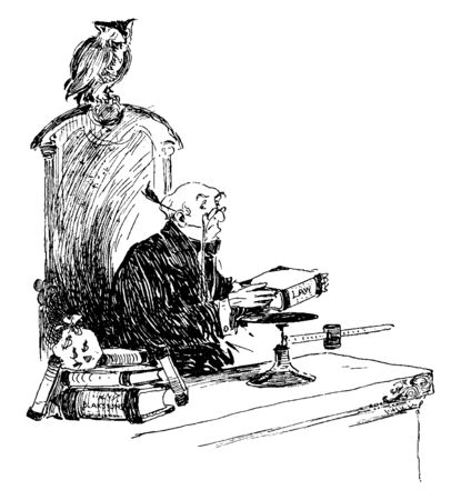A judge putting a law book on a scale, vintage line drawing or engraving illustration