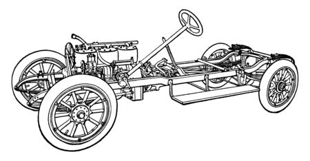 Building an Automobile Step 20 is Wheels in which Wheels are next added to chassis, vintage line drawing or engraving illustration.