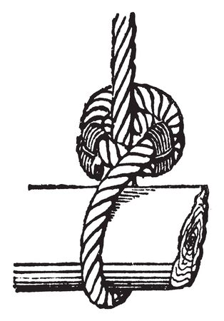 Inside Clench is a type of knot used to fasten large ropes, vintage line drawing or engraving illustration.