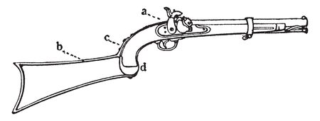 carabine pistol is a long arm pistol but with a shorter barrel than a rifle,vintage line drawing or engraving illustration. Illustration