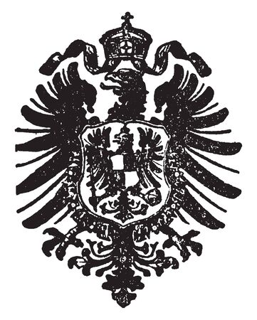 German Eagle is an emblem in heraldry war and legend, vintage line drawing or engraving illustration.