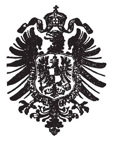 German Eagle is an emblem in heraldry war and legend, vintage line drawing or engraving illustration.