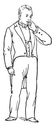 A man kept left hand on chin, a gesture of indecision, vintage line drawing or engraving illustration