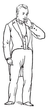 A man kept left hand on chin, a gesture of indecision, vintage line drawing or engraving illustration