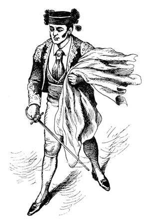 A bullfighter with sword, vintage line drawing or engraving illustration