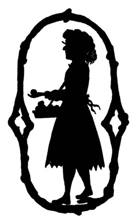 A decorative letter O with the silhouette of a young girl, vintage line drawing or engraving illustration