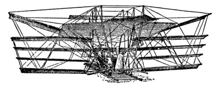 Sir Hiram Maximum Flying Machine was an American-born inventor who moved from the United States to the United Kingdom at the age of 41, vintage line drawing or engraving illustration. Illustration