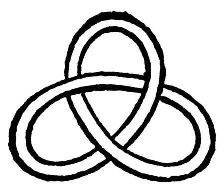 Reduced Knot is a crossing in a knot diagram for which there exists a circle in the projection plane meeting, vintage line drawing or engraving illustration.