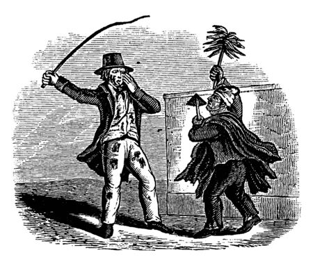 Two men are fighting, vintage line drawing or engraving illustration