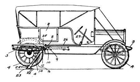 Automobile Brake is used to slow down a vehicle by converting its kinetic energy into heat, vintage line drawing or engraving illustration.