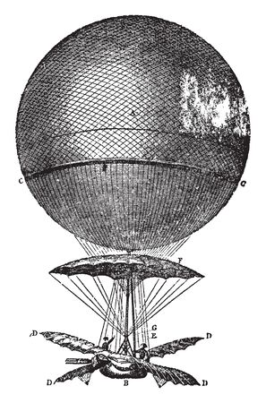 Blanchard Balloon made of taffeta 25 feet in diameter covered with a net, vintage line drawing or engraving illustration.