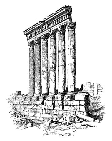 Temple of the Sun which is lie amidst desolate mountains forty miles from the sea, vintage line drawing or engraving illustration.
