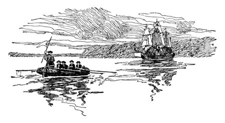 Benedict Arnold escaping by ship been captured by George Washingtons forces ,vintage line drawing or engraving illustration.