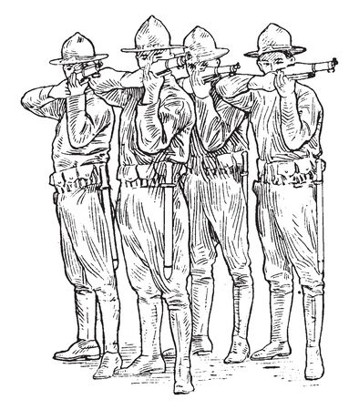 Four soldiers with guns, vintage line drawing or engraving illustration 일러스트