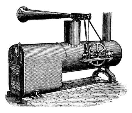 Brown Siren Foghorn used on board a vessel to sound a warning signal to other vessels in foggy weather, vintage line drawing or engraving illustration.