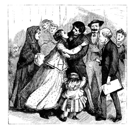 Group of friends greeting each other and child looking at them, vintage line drawing or engraving illustration