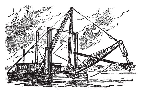 Dredge is an apparatus for bringing up objects or mud from a river or seabed by scooping or dragging, vintage line drawing or engraving illustration.