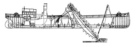Hopper Dredger is a ship that has a full sailing capacity used to maintain navigable waterways, vintage line drawing or engraving illustration.