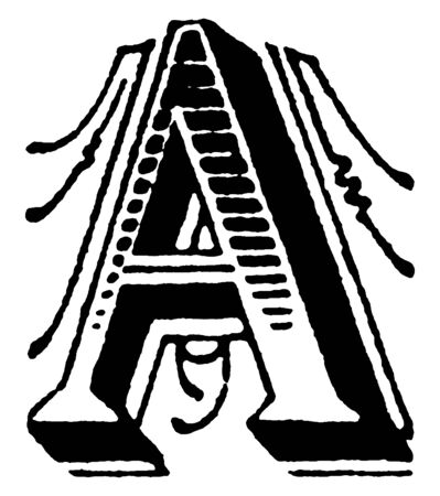 A capital letter A decorated with lines and shading, vintage line drawing or engraving illustration Ilustração