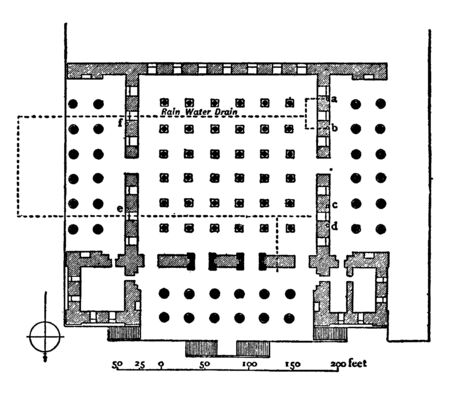Plan of the Hall of Xerxes from 485 to 465 BC is the plan of the palace according to Mr Weld Blundell, vintage line drawing or engraving illustration.