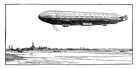 Zeppelin airship flying over water, vintage line drawing or engraving illustration.