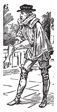 A man putting on his glove, vintage line drawing or engraving illustration Ilustrace
