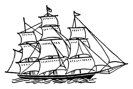 Large Ship with Sails is any large wind powered vessel, vintage line drawing or engraving illustration.