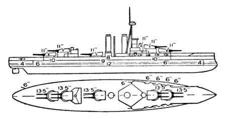 Iron Duke Class British Battleship is operated by steam and have 12 6 in guns protected by 6 in armor, vintage line drawing or engraving illustration. Illustration