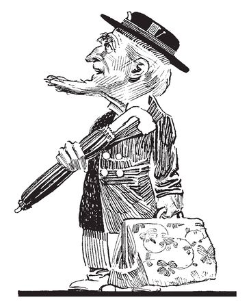 An old man holding an umbrella and a bag, vintage line drawing or engraving illustration Illustration