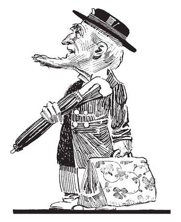 An old man holding an umbrella and a bag, vintage line drawing or engraving illustration Illustration
