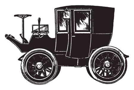 This illustration represents Electric cab, vintage line drawing or engraving illustration.