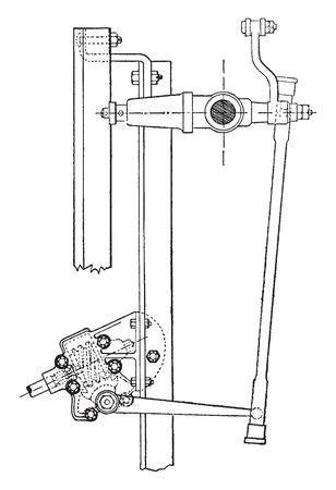 Steering Device was developed by Panhard Levassor, vintage line drawing or engraving illustration. Stock Illustratie
