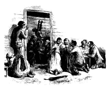 A group of slaves attending a religious prayer meeting, vintage line drawing or engraving illustration