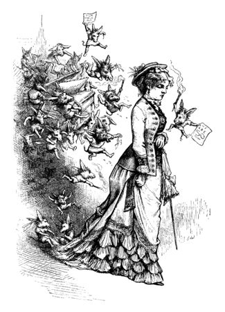 A woman walking and tiny cartoon figures with fire sticks behind her, vintage line drawing or engraving illustration