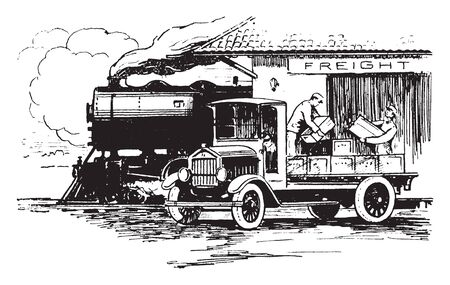 Freight Unloading where two men transferring freight from an old truck at a train station, vintage line drawing or engraving illustration.