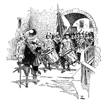 The surrender of Fort Amsterdam which was a fort on the southern tip of Manhatta by Governor Peter Stuyvesant,vintage line drawing or engraving illustration.
