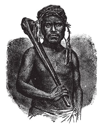 Feejee Cannibal is a member of the tribe of cannibals in Polynesia, vintage line drawing or engraving illustration. Çizim