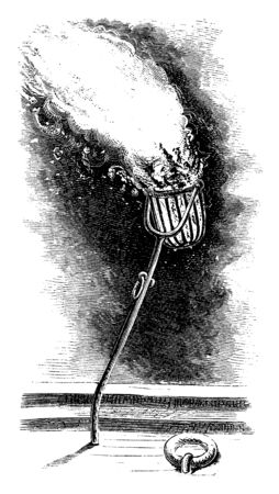Steamboat Torch basket is long handled iron basket called a torch or fire basket was used to help 19th century river pilots navigate in shallow waters, vintage line drawing or engraving illustration.