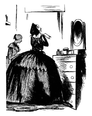 A woman looking into a mirror and another woman standing near her, vintage line drawing or engraving illustration Ilustração